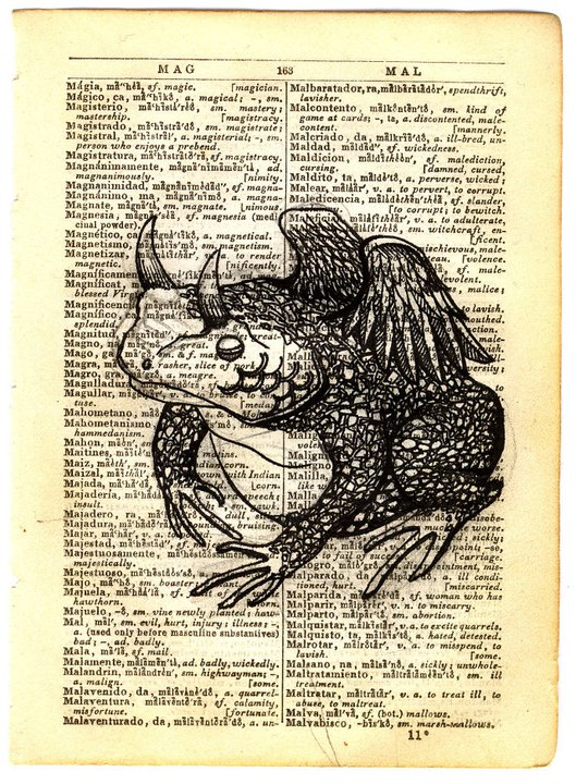 MAG-MAL, The Heirophant: Pen & ink on antique Spanish/English dictionary paper